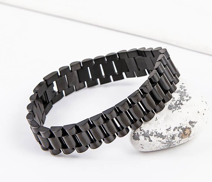 BM556 Широкий стальной браслет черного цвета фото 06