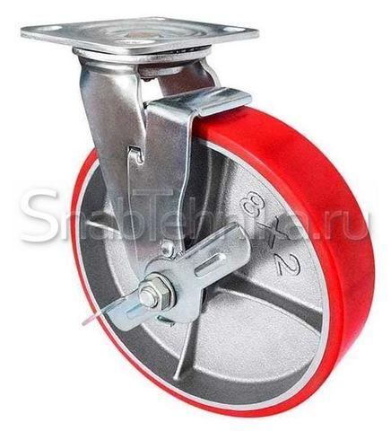 Большегрузная поворотная колесная опора с тормозом SCpb 125 (полиуретан)