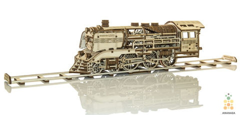 Локомотив-экспресс с рельсами от Wooden City. Деревянный конструкторы, сборная модель, 3D пазл