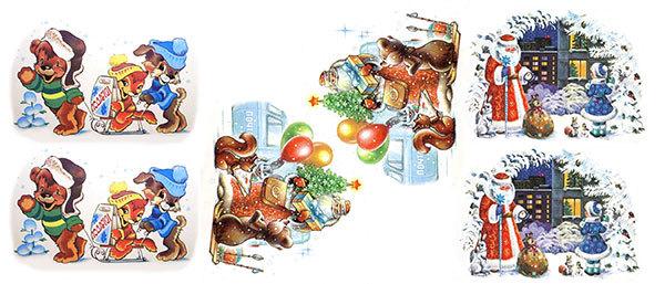 Водорастворимая бумага Новогодние открытки в круг