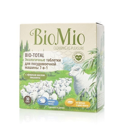 Таблетки для ПММ Bio-Total, BioMio, с эфирным маслом эвкалипта, 30 шт