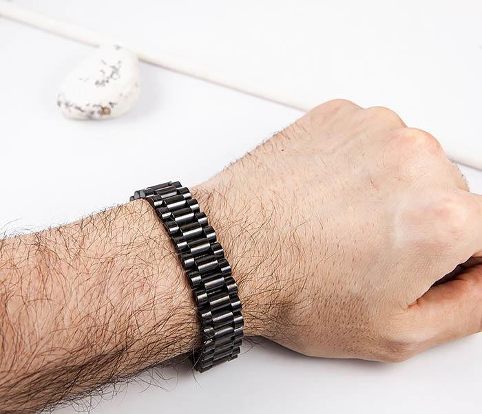 BM556 Широкий стальной браслет черного цвета фото 07