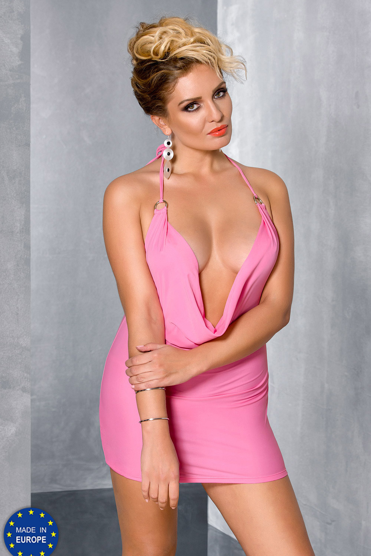 Розовое мини-платье для полных (Сорочки и Платья)