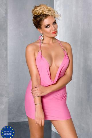 Розовое короткое эротическое красивое мини-платье Passion для полных с декольте