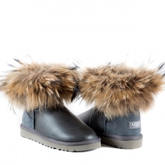 UGG Mini Fox Fur Metallic Grey