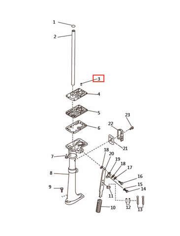 Шпонка вертикального вала для лодочного мотора T2,5 SEA-PRO (7-3)