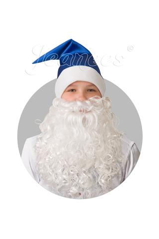 Колпак новогодний синий с бородой сатин