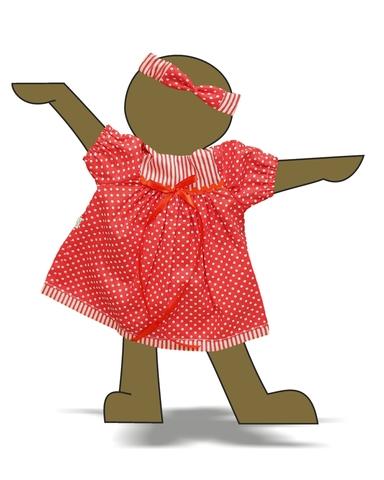 Платье хлопковое горох - Демонстрационный образец. Одежда для кукол, пупсов и мягких игрушек.