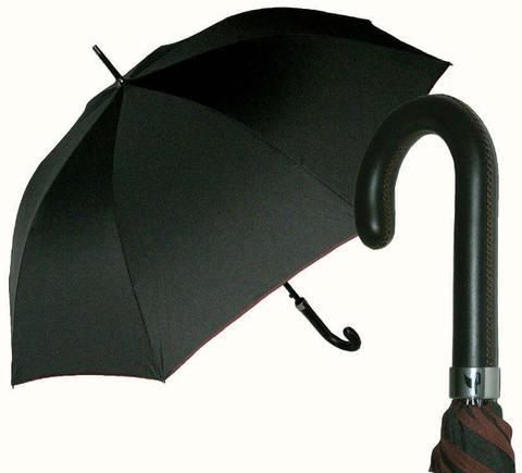 Купить онлайн Элитный большой зонт-трость с кожаной ручкой, Италия в магазине Зонтофф.
