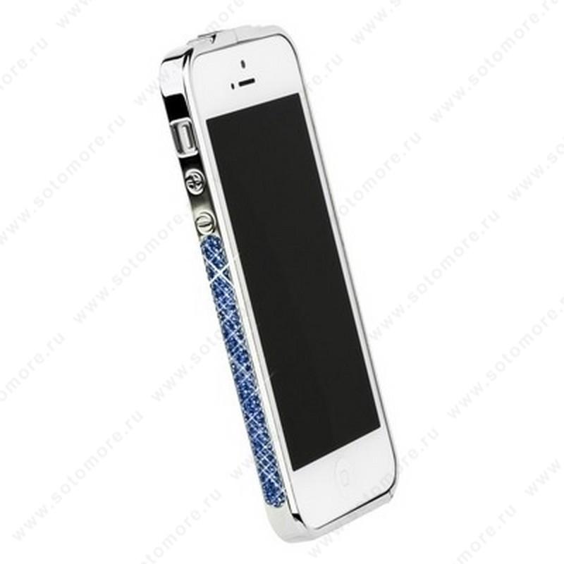 Бампер Newsh металлический для iPhone SE/ 5s/ 5C/ 5 со стразами голубыми