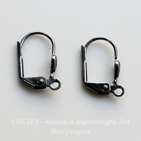 """Винтажные швензы с французским замком """"Ракушка"""" 14 мм (цвет -черный никель)"""