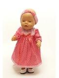 Платье хлопковое горох - На кукле. Одежда для кукол, пупсов и мягких игрушек.