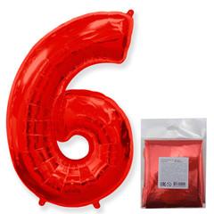 F Цифра, 6 Красный, 40''/102 см, 1 шт. в упаковке