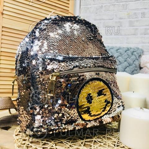 Рюкзак с пайетками с двусторонними пайетками нашивкой Смайлик меняет цвет Кофейный-Серебристый