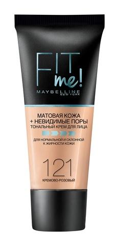 Мейб Fit Me тональный крем матовая кожа + невидимые поры №121 кремово-розовый