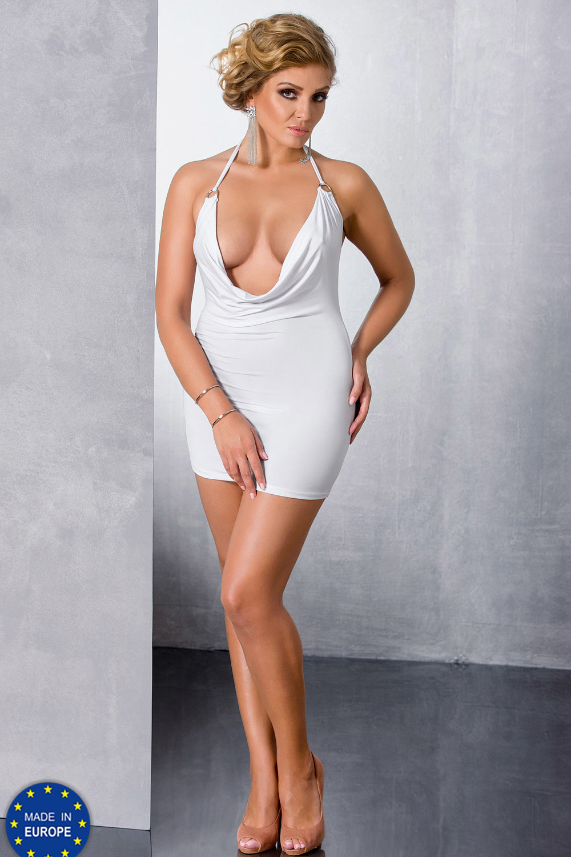 Белое мини-платье для полных (Сорочки и Платья)