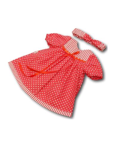 Платье хлопковое горох - Красный. Одежда для кукол, пупсов и мягких игрушек.