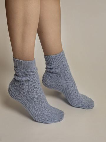 Женские носки голубого цвета из 100% кашемира - фото 4