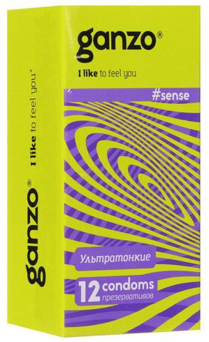 Тонкие презервативы для большей чувствительности Ganzo Sence - 12 шт.