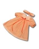 Платье хлопковое горох - Персик. Одежда для кукол, пупсов и мягких игрушек.