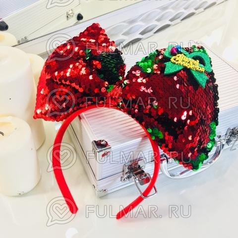 Новогодний ободок на голову карнавальный Большой Бант Merry Christmas с бубенцами пайетки меняют цвет Красный-Зелёный