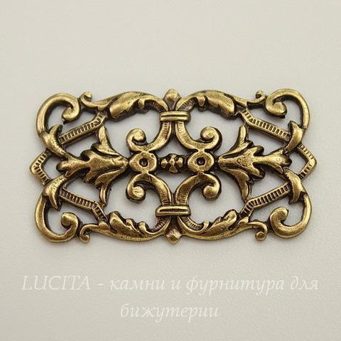 Винтажный декоративный элемент - коннектор (1-1) 26х14 мм (оксид латуни)