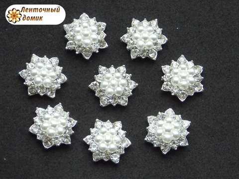 Стразовый декор жемчужно-стразовые звездочки на серебре