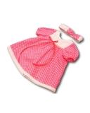 Платье хлопковое горох - Цикламеновый. Одежда для кукол, пупсов и мягких игрушек.
