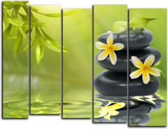 """Модульная картина """"Цветы на камнях"""""""