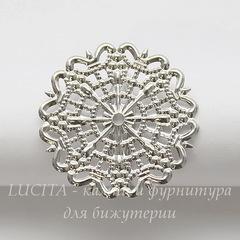Основа для кольца с филигранью 25 мм (цвет - платина)