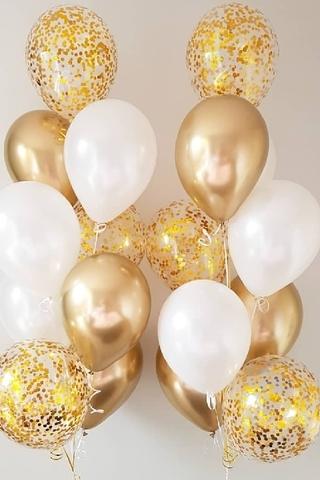 Фонтан из золотых и белых шаров с конфетти