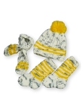 Вязаный комплект - Серый меланж / желтый. Одежда для кукол, пупсов и мягких игрушек.