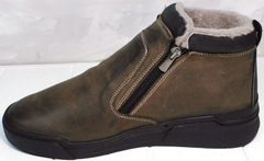 Мужские зимние ботинки на меху Rifellini Rovigo 046 Brown Black.