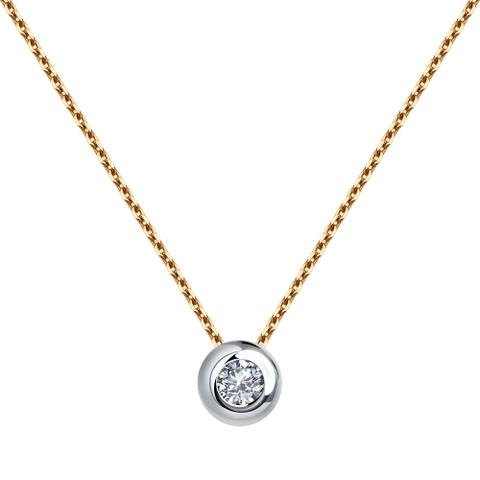 1070090 - Колье из комбинированного золота с бриллиантами
