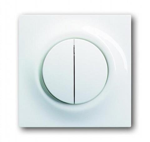 Выключатель двухклавишный с подсветкой. Цвет Альпийский белый. ABB impuls. 1012-0-2111+1753-0-4856