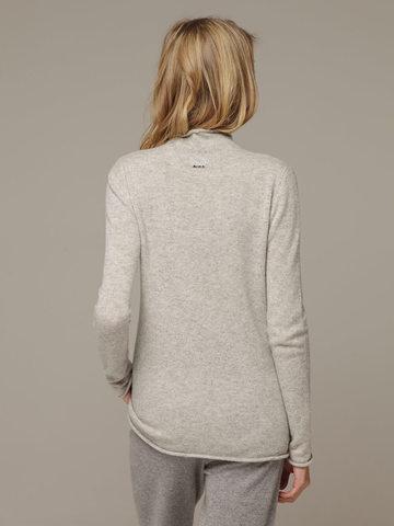 Женский серый джемпер с высоким горлом из 100% кашемира - фото 3