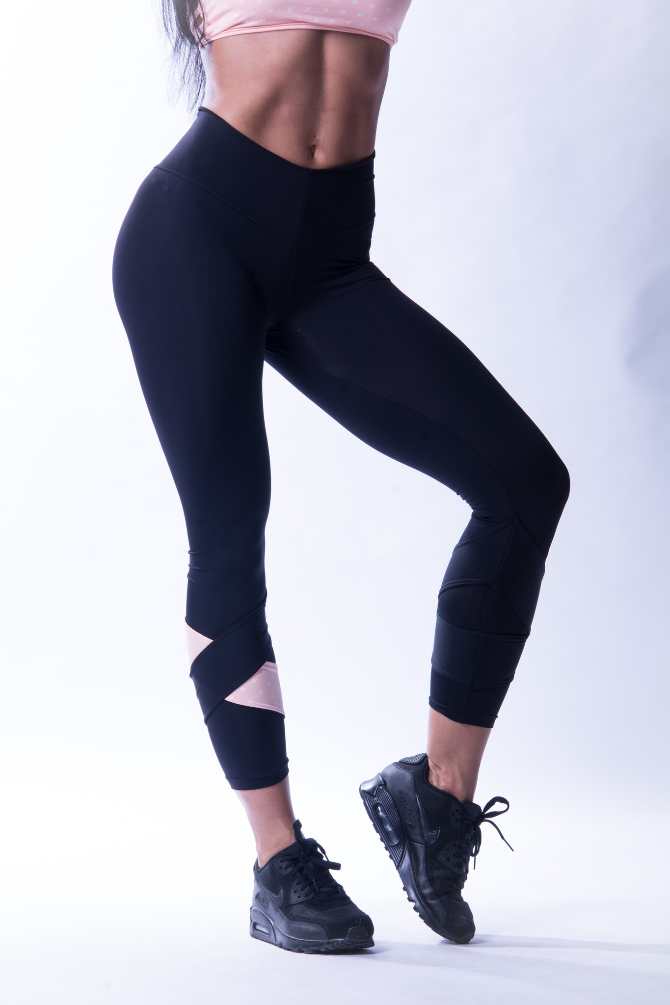 Женские лосины Nebbia Asymmetrical 7/8 leggings 639 Black/salmon
