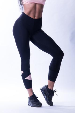 Женские лосины Nebbia Asymmetrical 7/8 leggings 639 Black/salmon