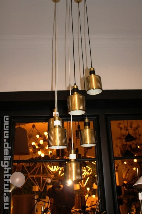 Bert Frank Riddle Chandelier White & Brass