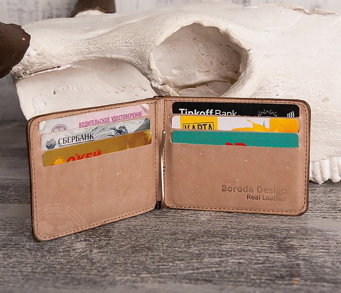 WB157 Зажим для купюр из яркой кожи, ручная работа, «Boroda Design» фото 05