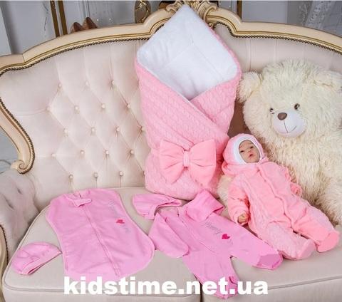 Зимний комплект на выписку из роддома Косичка Lux розовый