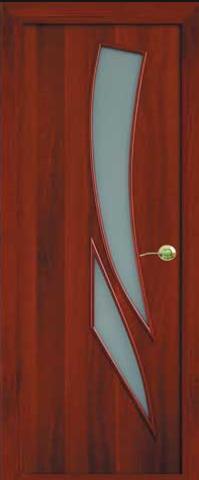 Дверь Фрегат ПО-012 Пламя, матовое, цвет итальянский орех, остекленная