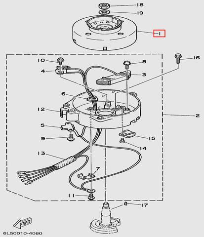 Маховик  для лодочного мотора T3 SEA-PRO (8-1)