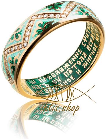 Кольцо. Спиридон Тримифунтский. Зеленая эмаль
