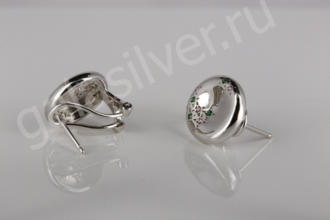 Серьги с цирконом из серебра 925