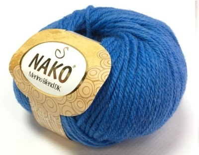 Пряжа Nako Merino Blend DK 1256 темно-голубой