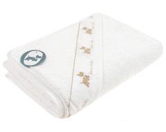 Полотенце детское 100х100 Bovi Собачки с капюшоном белое/бежевое