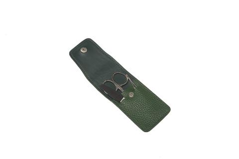 Немецкий фирменный маникюрный набор в 3 предмета ножницы пилка пинцет из высококачественной стали в зеленом футляре из натуральной кожи Solinger GD 1503GRN-2 в подарочной коробке