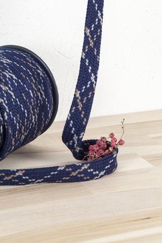 Плоский хлопковый шнур, меланж 18 мм