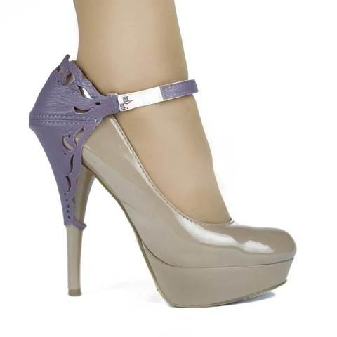 Автопятка для женской обуви на каблуке сиреневая с узорами